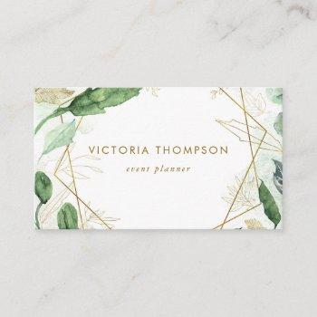 gold geometric frames with watercolor greenery business card