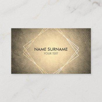 gold geometric leather social business card