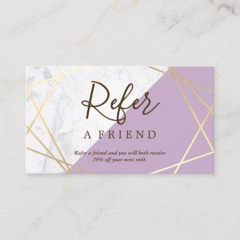 gold geometric pattern marble lavender referral business card