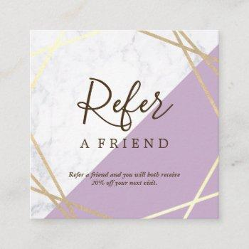 gold geometric pattern marble lavender referral square business card