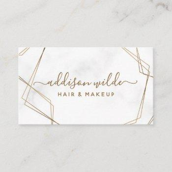 gold geometric white marble abstract simple modern business card
