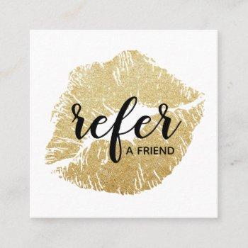 gold glitter lips refer a friend referral card