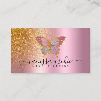 gold glitter metallic pink foil butterfly logo business card