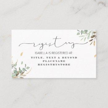 gold greenery and eucalyptus foliage registry business card