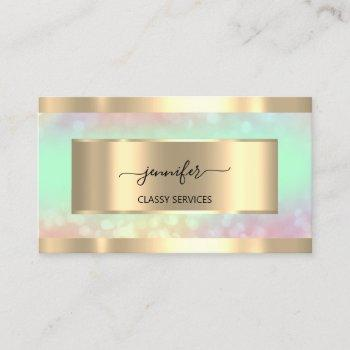 gold  holograph nail salon mint  hairdresser ombrÉ business card