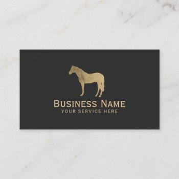 gold horse equestrian horseback riding equine business card