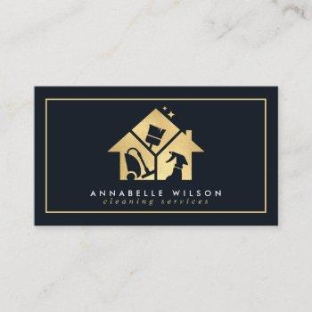 gold house cleaning services business card