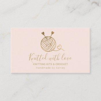 gold knitting crochet yarn handmade kit pink business card