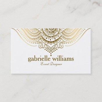 gold lace paisley mandala business card