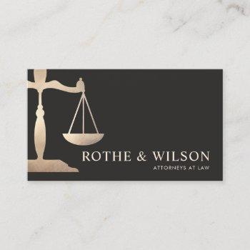 gold lawyer scales of justice dark brown business card