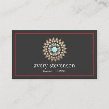 gold lotus mandala logo massage therapy and yoga business card