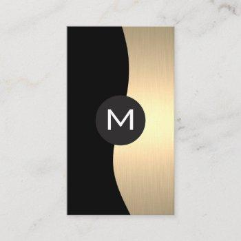 gold luxe monogram business card