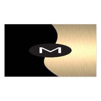 Small Gold Luxe Monogram Business Card Front View
