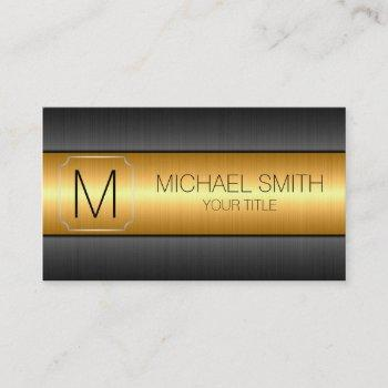 gold luxury stainless steel metal monogram business card