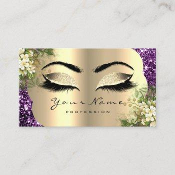 gold makeup artist lashes floral mint purple business card