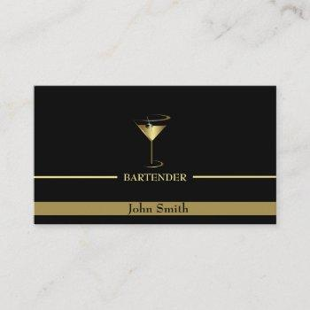 gold martini logo bartender business card