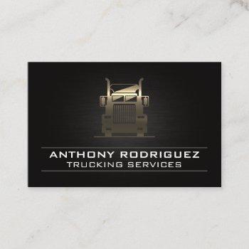 gold metal semi truck | driver | logistics  business card
