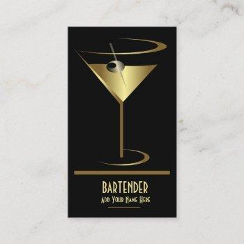 gold metallic cocktail logo bartender business card