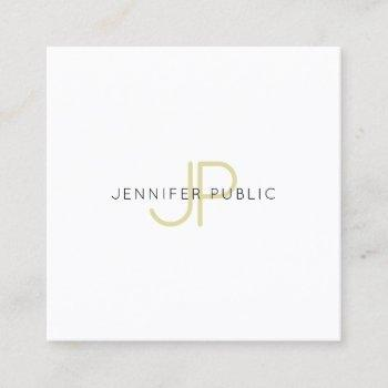 gold monogrammed design trendy modern chic plain square business card