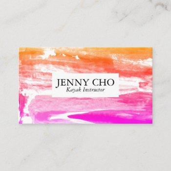 gold orange and pink sunset paint stripe business card