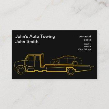gold outline rollback wrecker with sedan business card