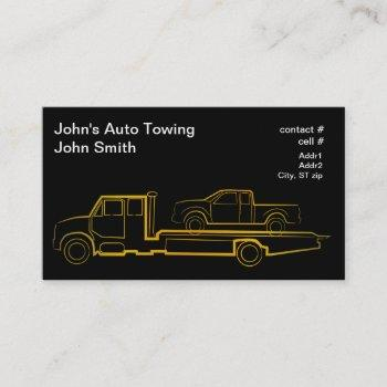 gold outline rollback wrecker with truck business card