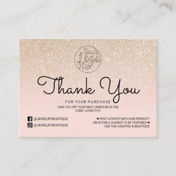 gold pink glitter ombre customer thank you business card