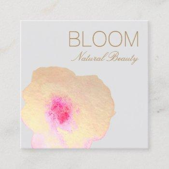 gold pink watercolor floral  square square business card