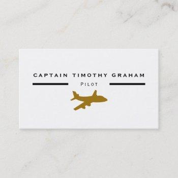 gold plane icon, flight steward & pilot business card