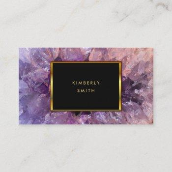 gold purple amethyst gemstone geode. business card