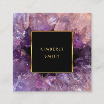 gold purple amethyst gemstone geode square business card
