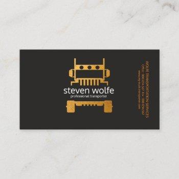 gold semi truck professional transportation business card