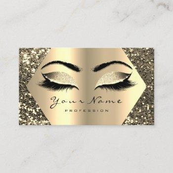 gold sepia glitter makeup artist lashes browns business card