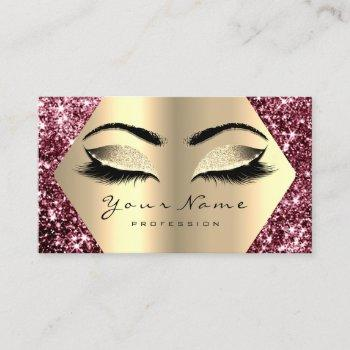 gold sepia glitter makeup artist lashes burgundy business card