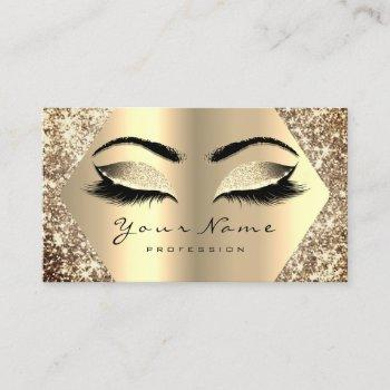 gold sepia glitter makeup artist lashes champaigne business card