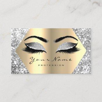 gold sepia glitter makeup artist lashes gray grey business card