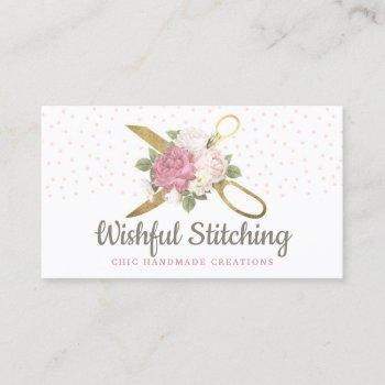 gold sewing scissors shabby floral social media business card