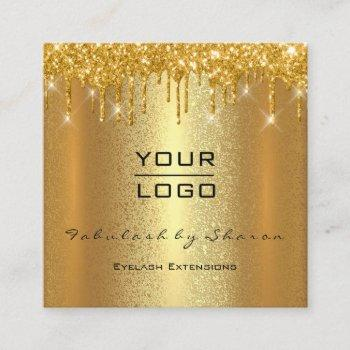 gold spark makeup artist event planner beauty logo square business card