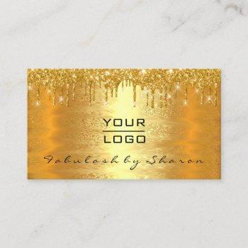 gold spark makeup artist lash drips lux logo business card