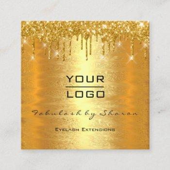 gold spark makeup artist lash drips mua logo square business card