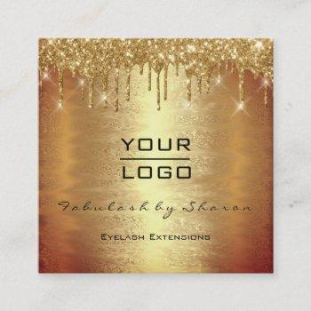 gold spark makeup artist lash drips your logo square business card