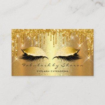 gold spark makeup artist lashes esthetician business card