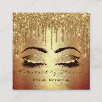 gold spark makeup artist lashes logo beauty salon square business card