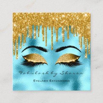 gold spark makeup artist lashes logo blue square business card