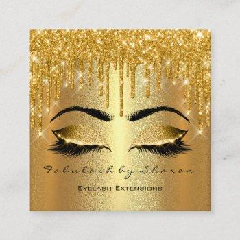 gold spark makeup artist lashes logo luxury square business card
