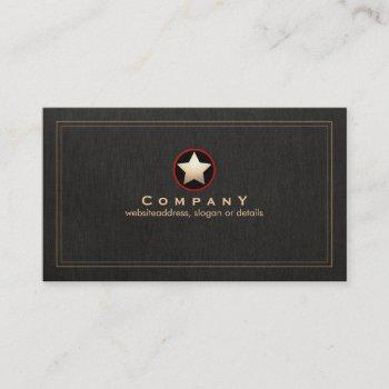 gold star logo faux black linen groupon business card