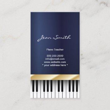 gold stripe piano teacher dark blue business card