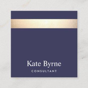 gold striped modern stylish navy blue square business card