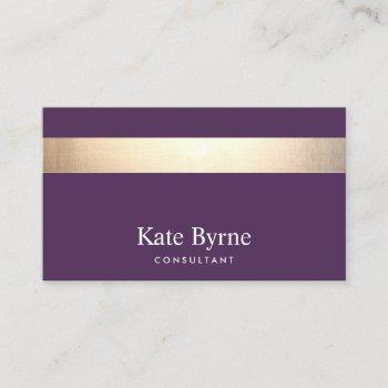 gold striped modern stylish purple business card