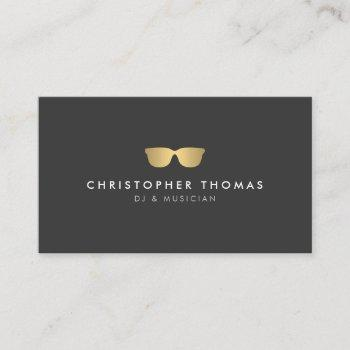 gold sunglasses dj business card